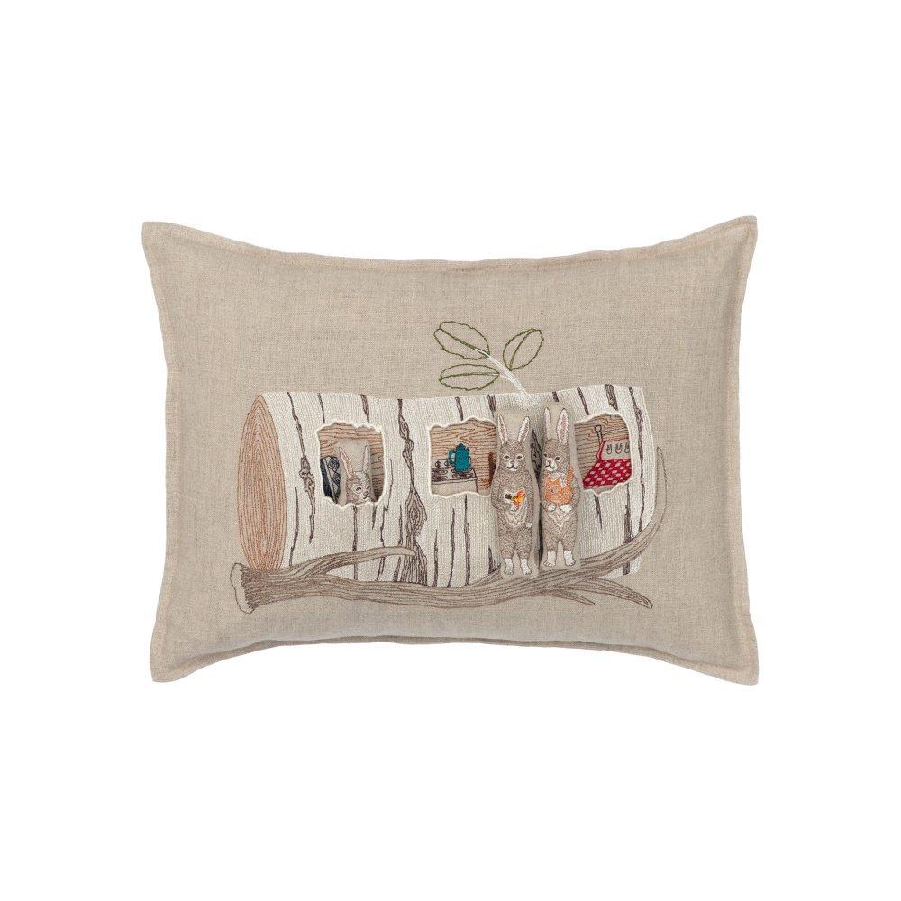 Aspen Log Bunnies Pocket Pillow (Cover Only) img2