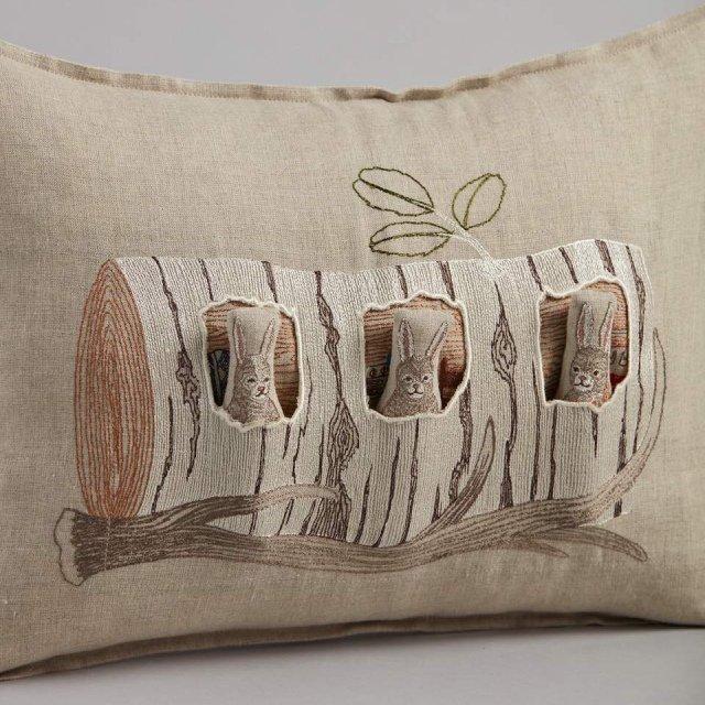 Aspen Log Bunnies Pocket Pillow (Cover Only) img3