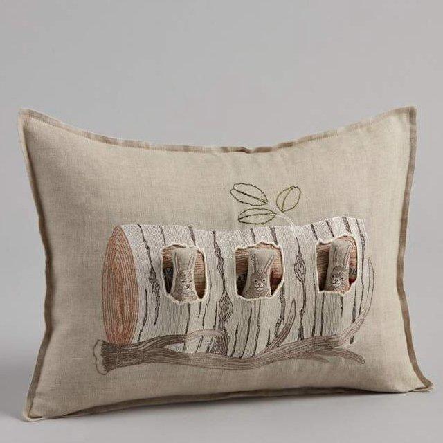 Aspen Log Bunnies Pocket Pillow (Cover Only) img4