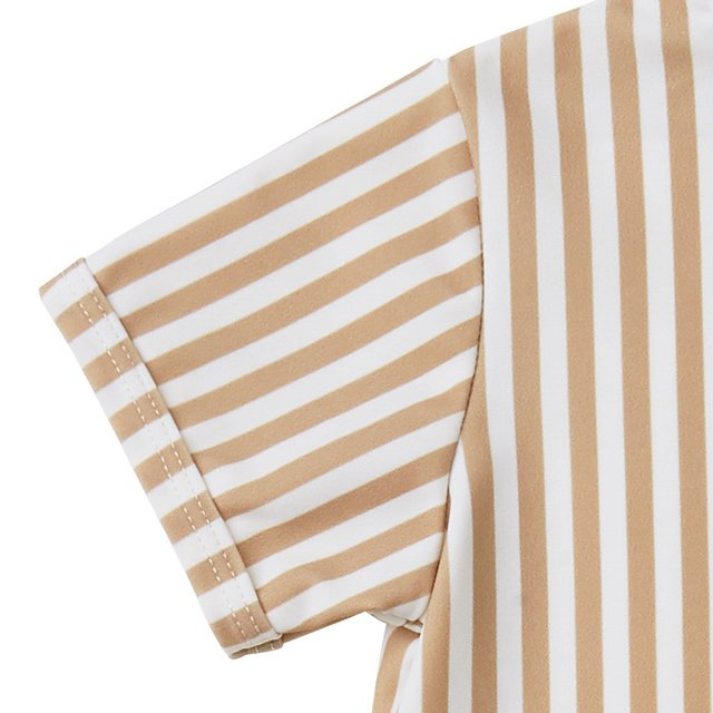 striped shorty onepiece almond img1