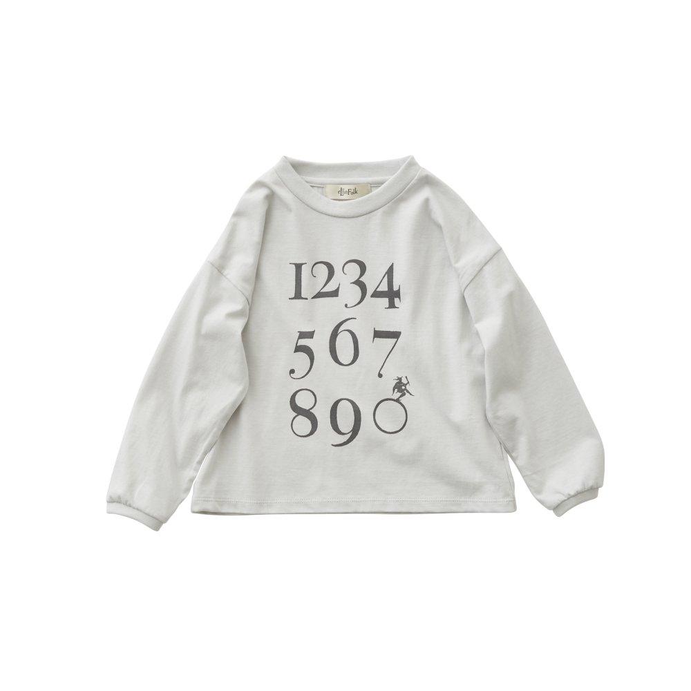 Numbering pixie Long sleeve Tee ash white img