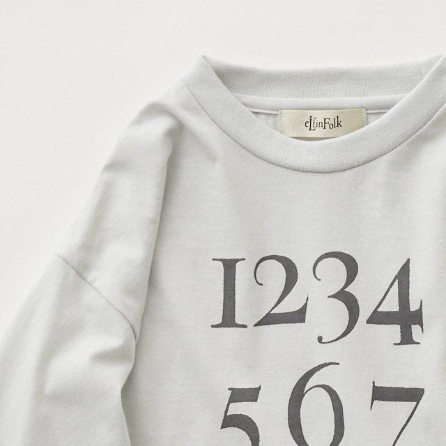 Numbering pixie Long sleeve Tee ash white img1