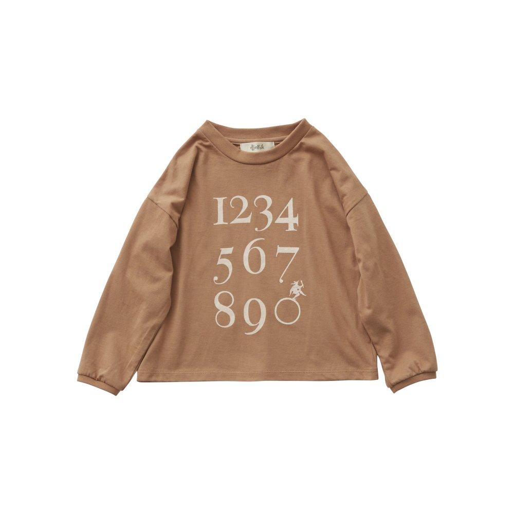 Numbering pixie Long sleeve Tee milky brown img