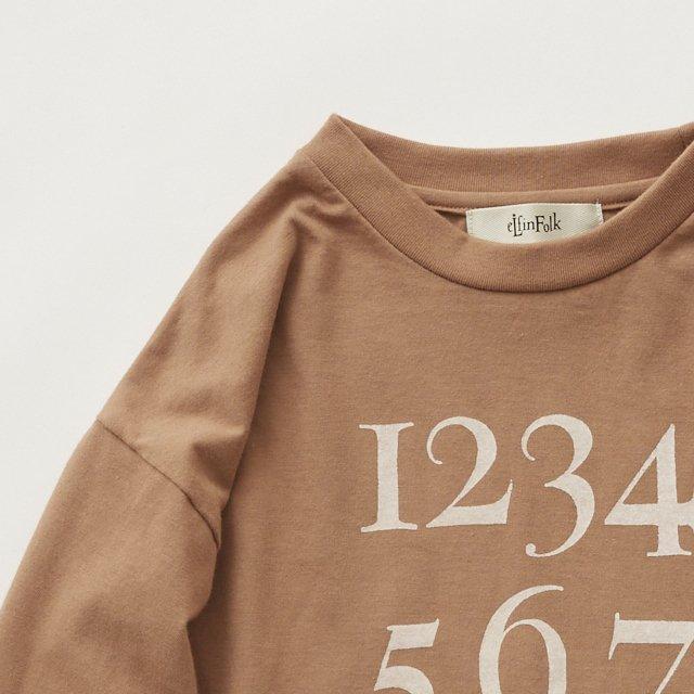 Numbering pixie Long sleeve Tee milky brown img1