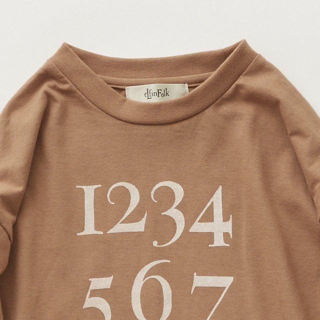 Numbering pixie Long sleeve Tee milky brown img4