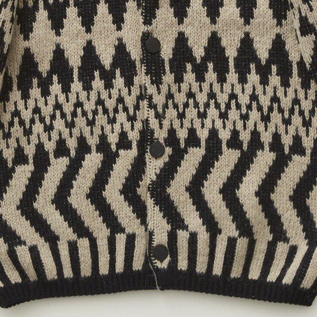 Folk jacquard cardigan black x ivory img4