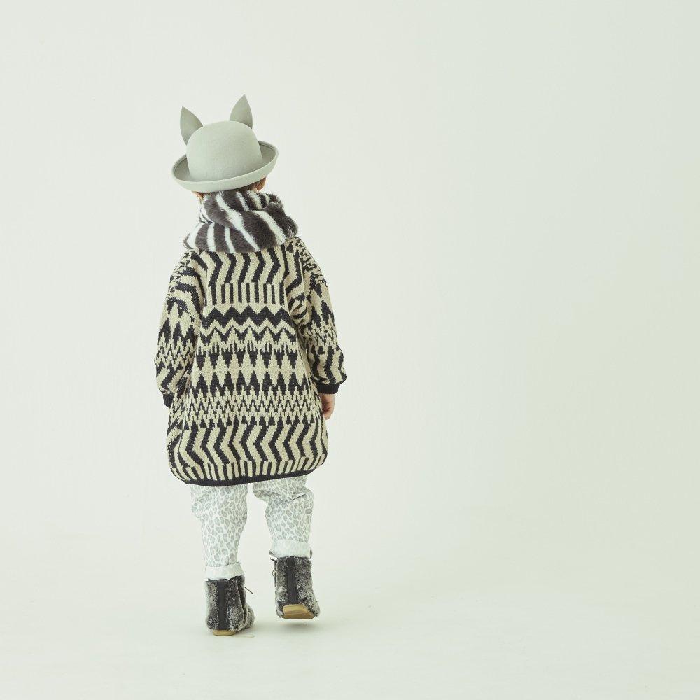 Folk jacquard cardigan black x ivory img6