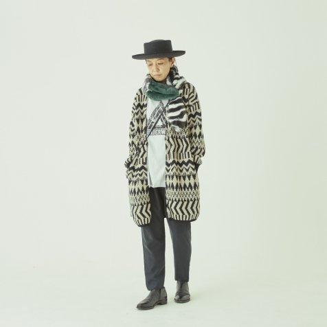 Folk jacquard cardigan black x ivory -adult-