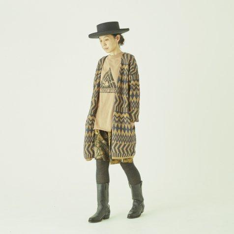 Folk jacquard cardigan camel×charcoal -adult-