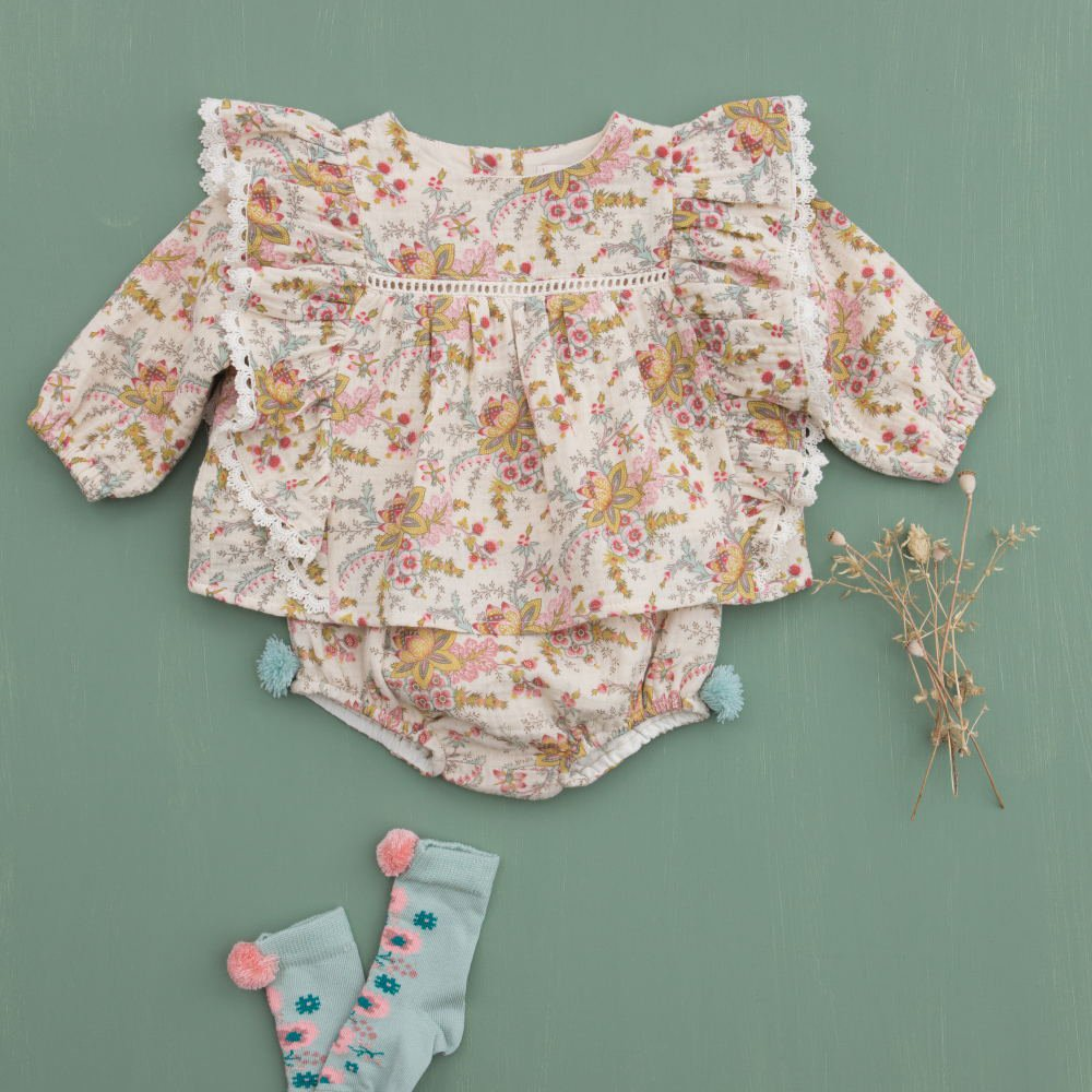 Rompers Ghilena Cream French Flowers img5