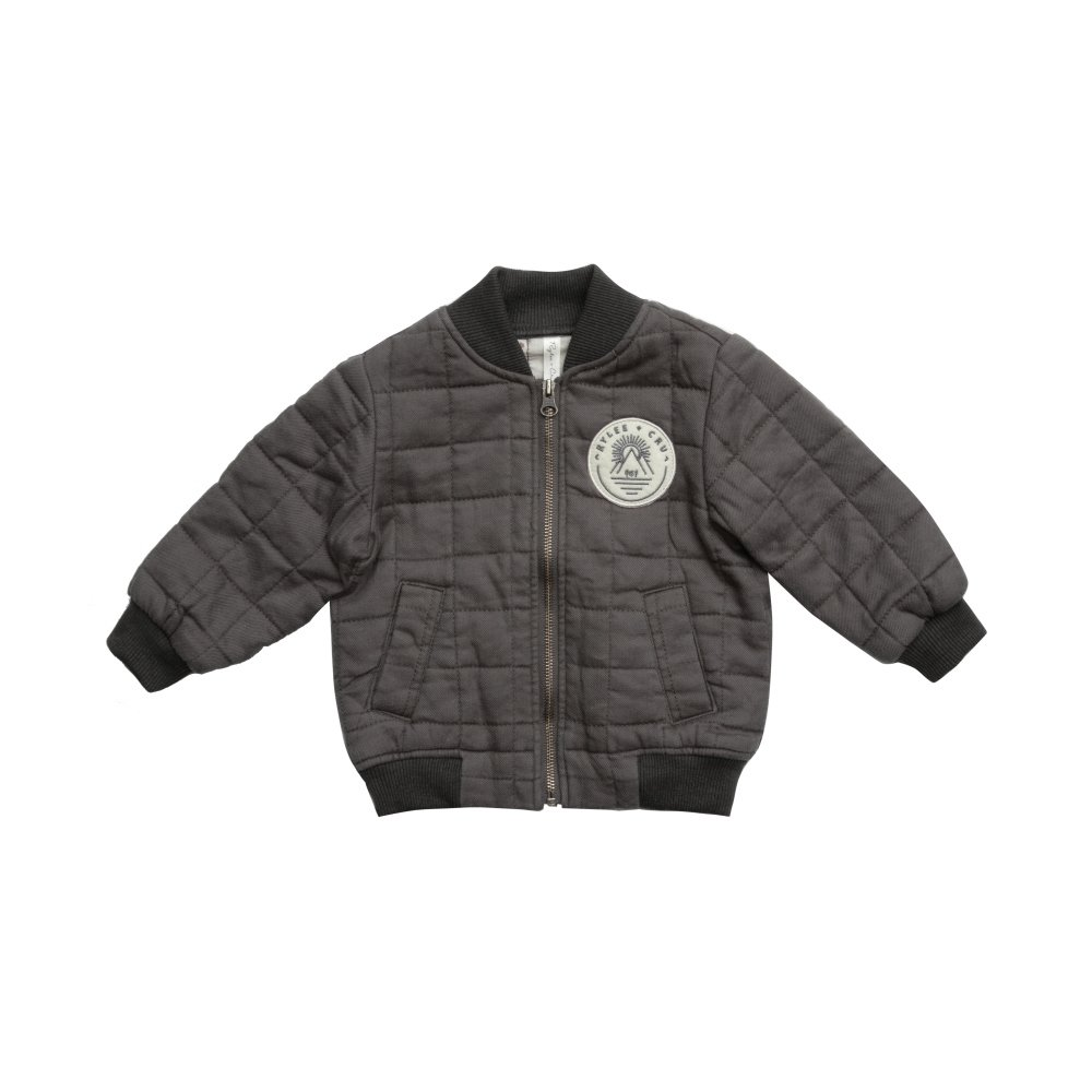 Quilted Bomber Jacket Charcoal img