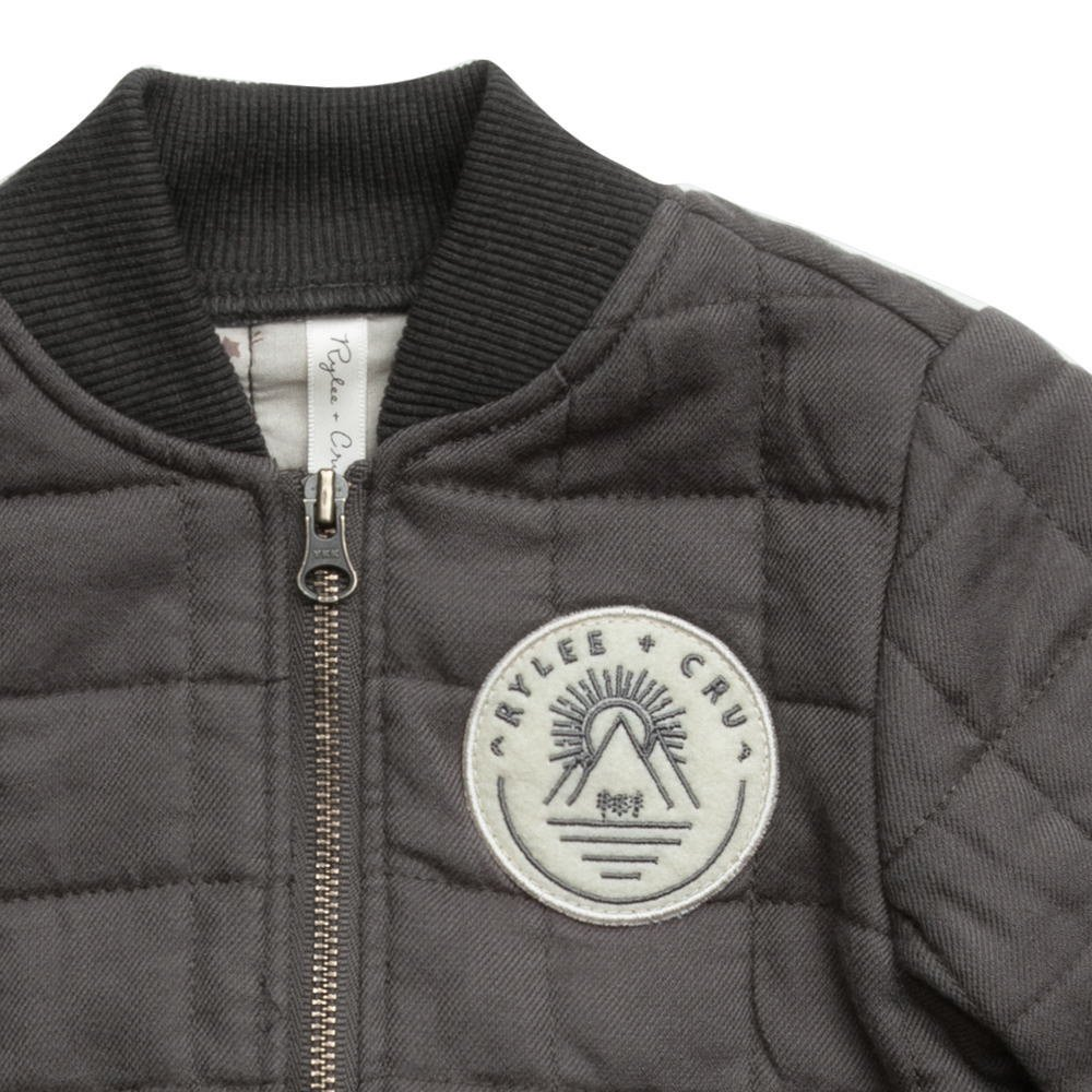 Quilted Bomber Jacket Charcoal img1