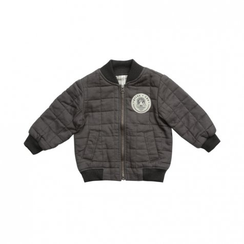 Quilted Bomber Jacket Charcoal