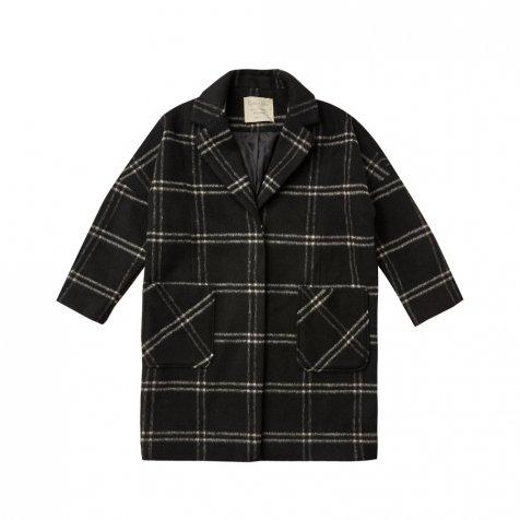 Longline Coat Windowpane Vintage Black