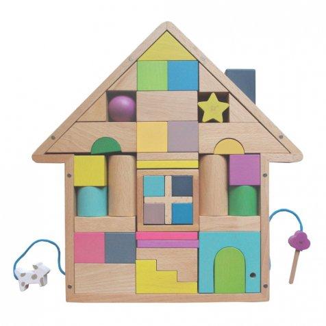 tsumiki 鍵付き・ペット付きのお家の形をした積み木
