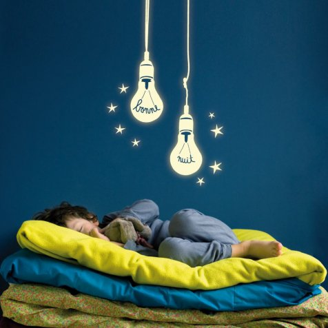 Ampoules phosphorescentes Wall Sticker 電球のウォールステッカー