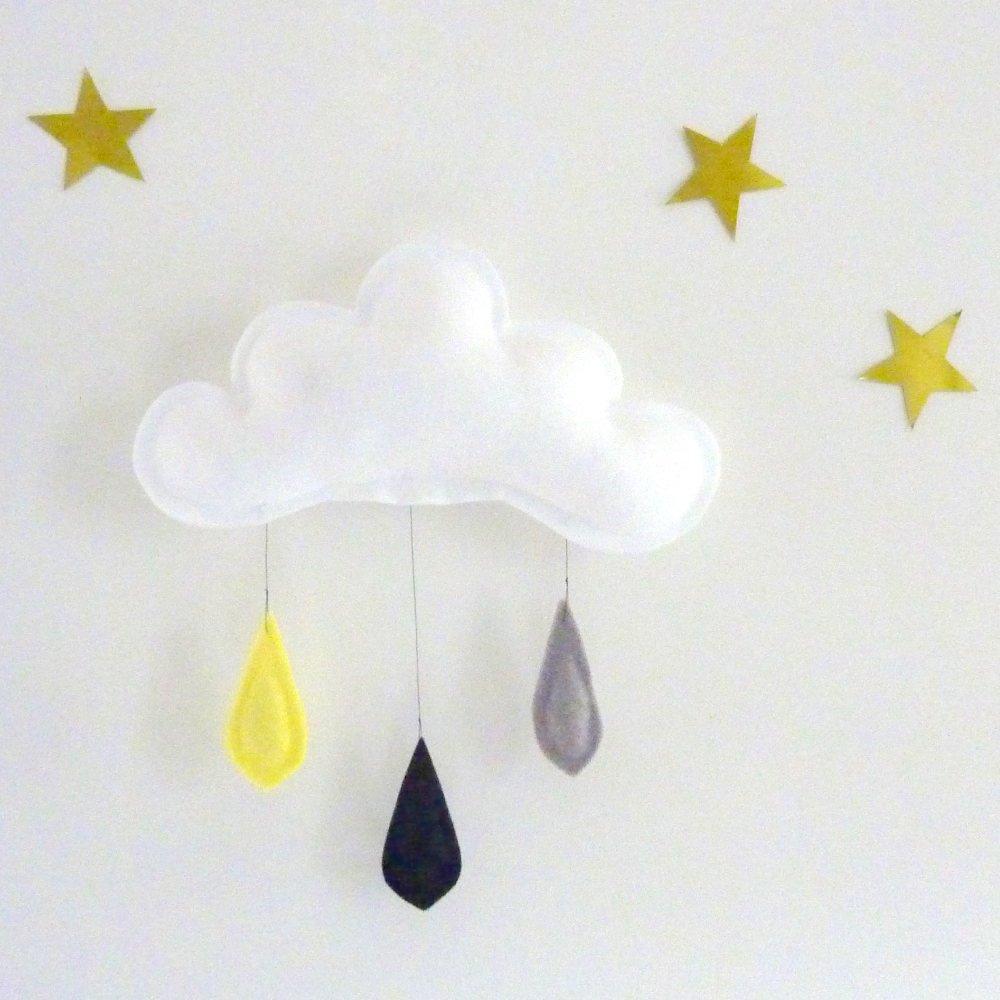雲のモビール Rain of colors YELLOW-BLACK-GREY img