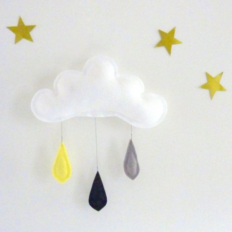 雲のモビール Rain of colors YELLOW-BLACK-GREY