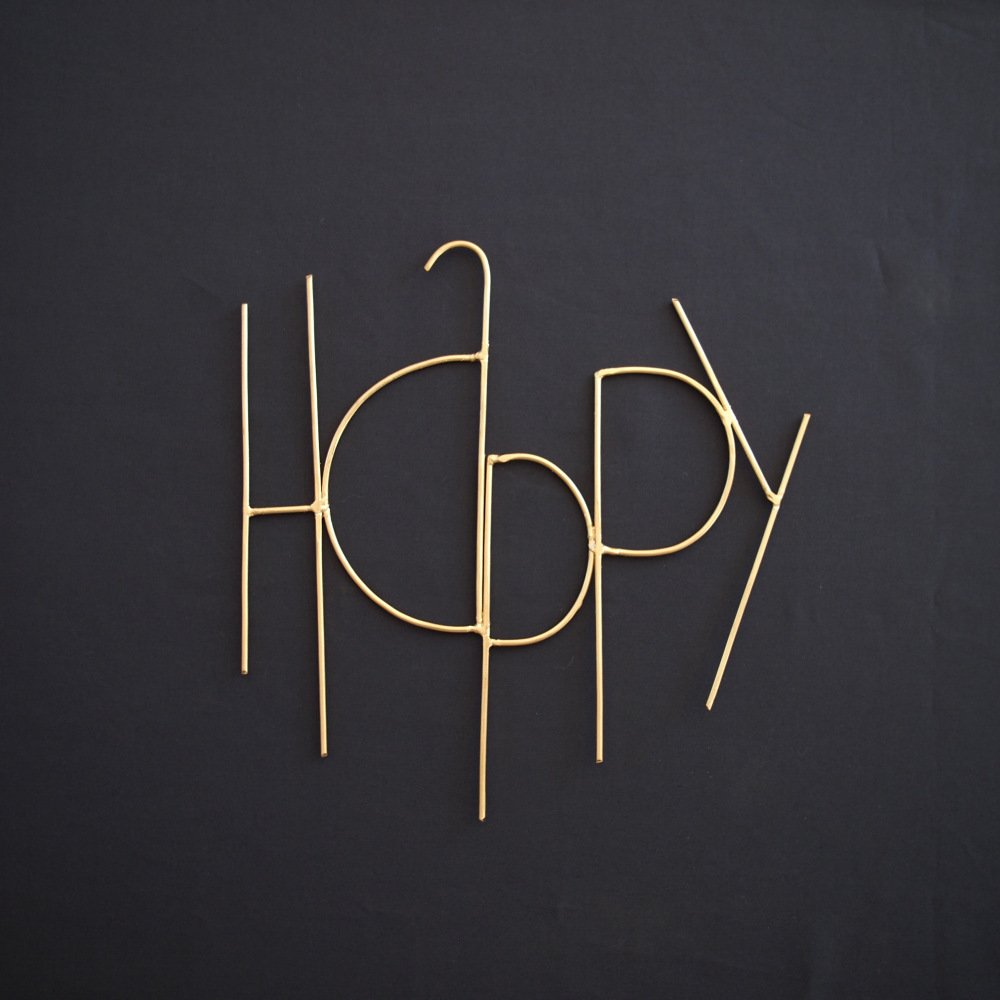Wall Sculpture Words HAPPY GOLD img