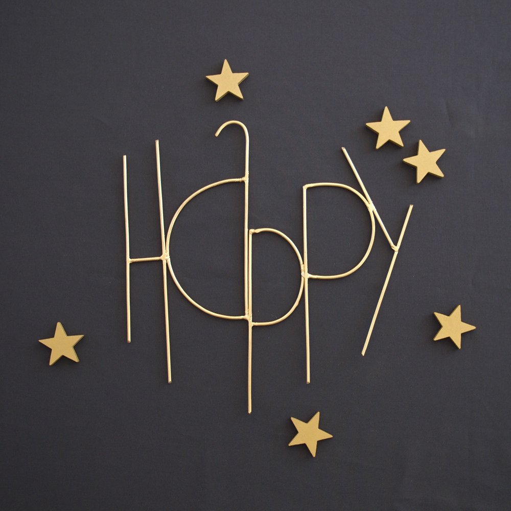 Wall Sculpture Words HAPPY GOLD img1