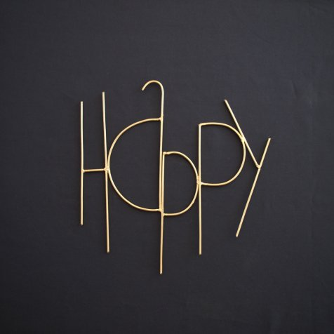 Wall Sculpture Words HAPPY GOLD