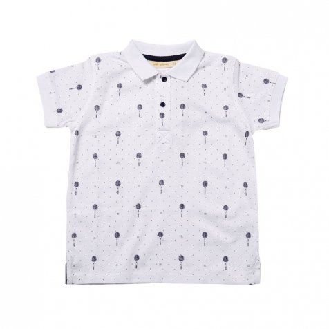 【SALE 60%OFF】Lucas Polo White - AOP Tennis