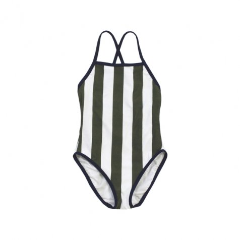 【サマーセール30%OFF】No.149 stripes swimsuit white + dark green