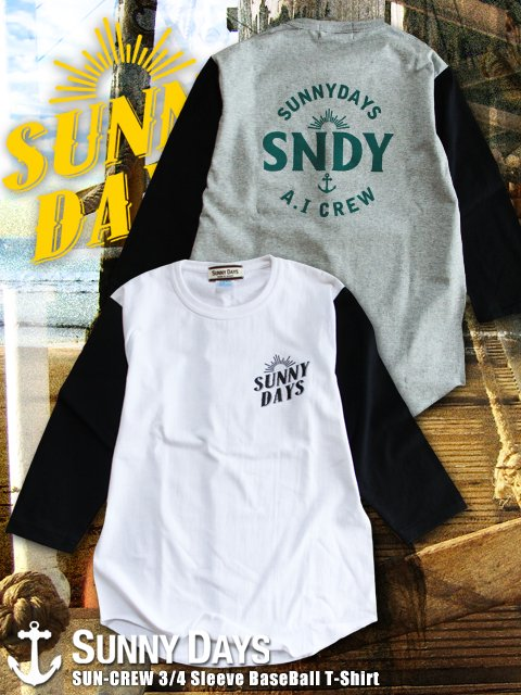 SUN CREW 3/4 Sleeve BaseBall T-Shirt (Men's) 2カラー