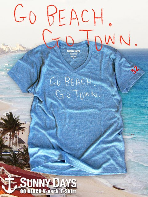 GO BEACH V neck T-shirt (Men's) 3カラー