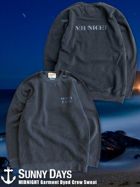 MIDNIGHT Garment Dyed Crew Sweat (Unisex) ブラック<img class='new_mark_img2' src='//img.shop-pro.jp/img/new/icons14.gif' style='border:none;display:inline;margin:0px;padding:0px;width:auto;' />
