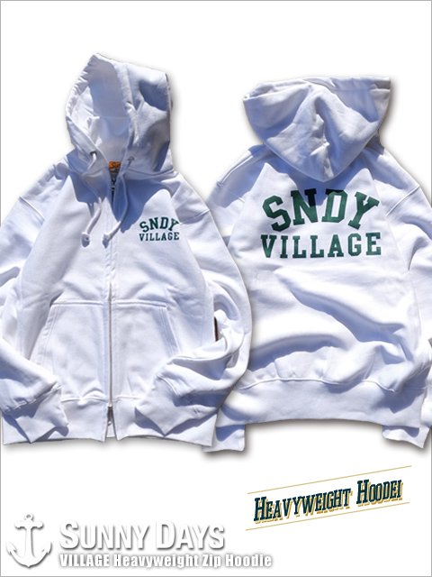 VILLAGE Heavyweight Zip Hoodie (Unisex) ホワイト<img class='new_mark_img2' src='https://img.shop-pro.jp/img/new/icons16.gif' style='border:none;display:inline;margin:0px;padding:0px;width:auto;' />