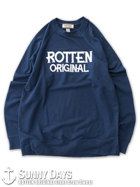 ROTTEN ORIGINAL Light Crew Sweat (Unisex) ネイビー<img class='new_mark_img2' src='https://img.shop-pro.jp/img/new/icons14.gif' style='border:none;display:inline;margin:0px;padding:0px;width:auto;' />