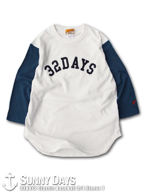 32DAYS Classic BaseBall 3/4 Sleeve T (Unisex) ナチュラル×ネイビー