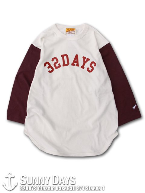 32DAYS Classic BaseBall 3/4 Sleeve T (Unisex) ナチュラル×バーガンディ