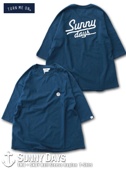 TURN ME ON × SNDY Half Sleeve Raglan T-Shirt (Unisex) ネイビーブルー