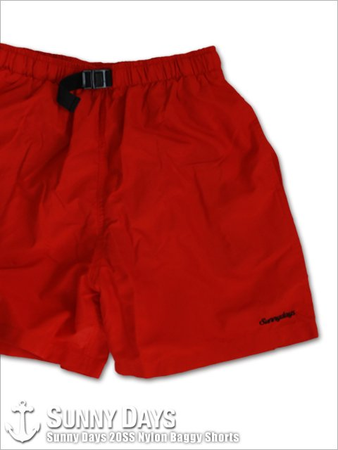 Sunny Days 20SS Nylon Baggy Shorts (Unisex) レッド<img class='new_mark_img2' src='https://img.shop-pro.jp/img/new/icons14.gif' style='border:none;display:inline;margin:0px;padding:0px;width:auto;' />