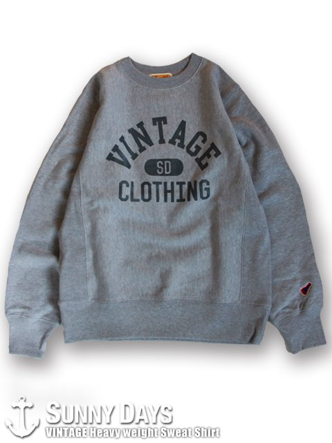 VINTAGE Heavyweight Sweat Shirt (Unisex) ヘザーグレー