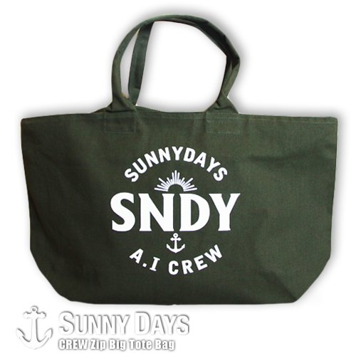CREW Big Size Zip Tote Bag カーキ<img class='new_mark_img2' src='https://img.shop-pro.jp/img/new/icons57.gif' style='border:none;display:inline;margin:0px;padding:0px;width:auto;' />