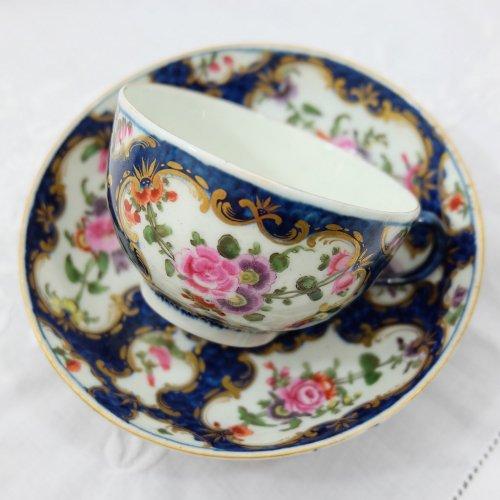 1770年代・ウースター・ドクターウォール期・ブルースケイルのカップ&ソーサー(送料込)