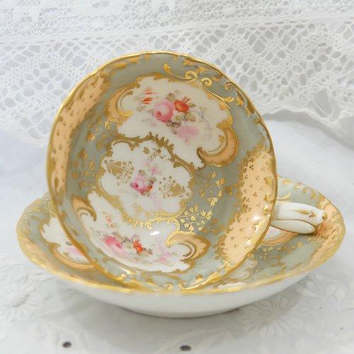 1840年代・ミントン・淡いアプリコット色とグレーのロココリバイバルカップ&ソーサー(送料込)