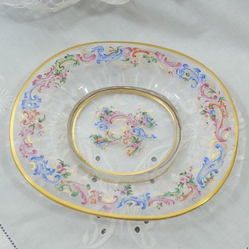 ロブマイヤー・1870年代・エナメル彩のガラスプレート(送料込)