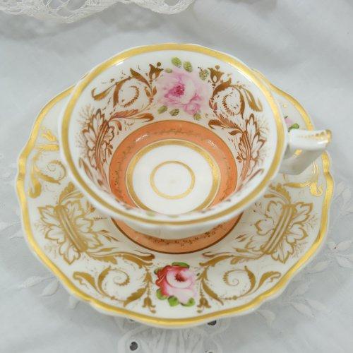 1830年代・リッジウェイ・アプリコット色と英国バラのティーカップ&ソーサー(プレゼント付)(送料込)