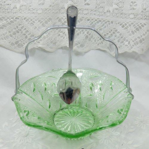 グリーンのガラスとシルバープレートのジャムディッシュ(送料込)
