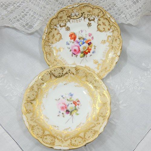 コールポート・ロココリバイバルの金彩と手描きのお花の皿(2枚)
