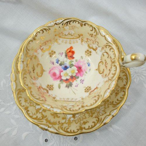 1830年代・コールポートアデレードシェイプ・ティーカップ&ソーサー訳あり(送料込)
