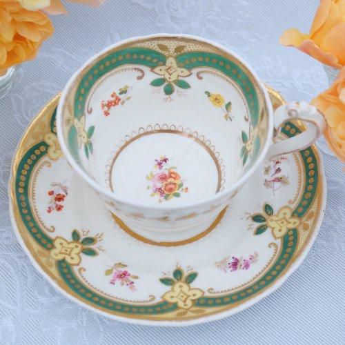 リッジウェイ・小さな手描きのお花とグリーン&金彩のコーヒーカップ&ソーサー(送料込)
