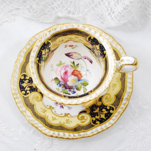 1830年代・ダニエル・金彩が美しいコーヒーカップ&ソーサー(送料込)