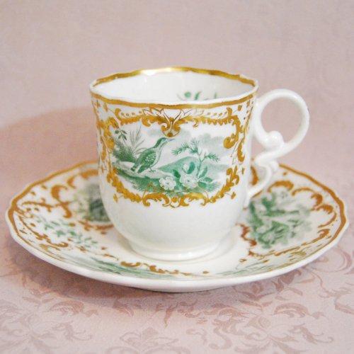 スポード・1820年代の金彩と銅板転写の鳥のいる風景のコーヒーカップ&ソーサー(送料込)