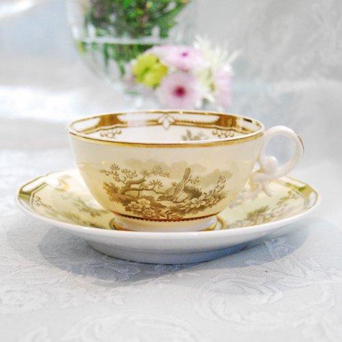 スポード・1820年代・銅版転写と手描きの金彩模様のブレックファーストカップ&ソーサー(送料込)