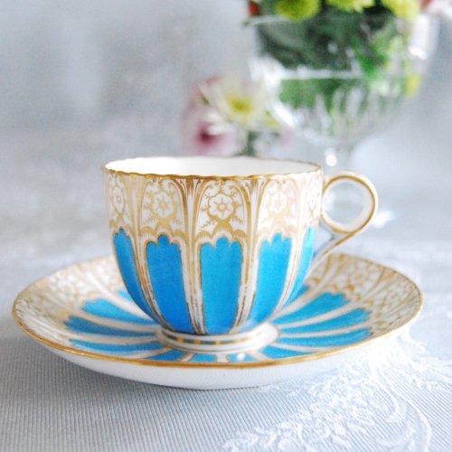 コールポート・鮮やかなターコイズブルーと金彩のゴージャスなティーカップ&ソーサー(1)(2)(3)(送料込)